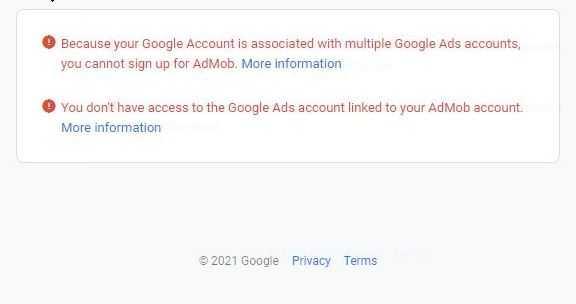 admob google ads problem 2021 time