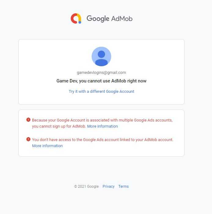 admob you cannot use admob right now