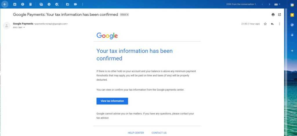 your tax information has been confirmed