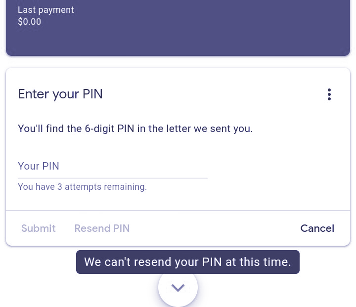 we cant resend your pin at this time solution 2021