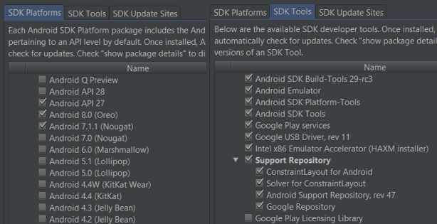 SDK installation with Android Studio Unity Android SDK