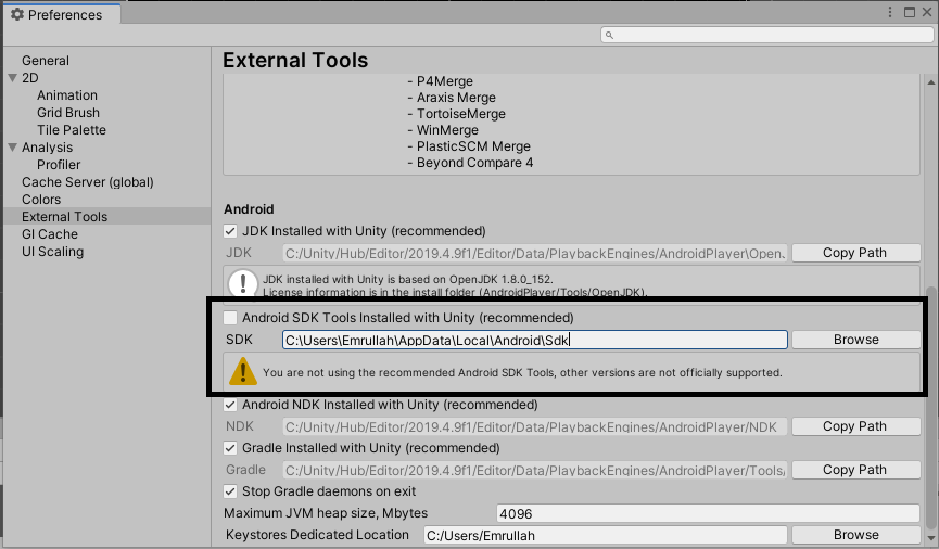 unity android sdk tools installed